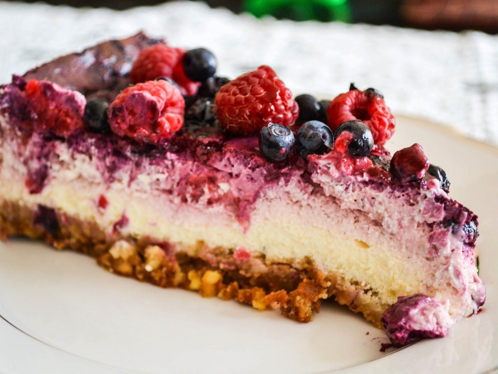 Recipe. Blueberry-raspberry cheesecake