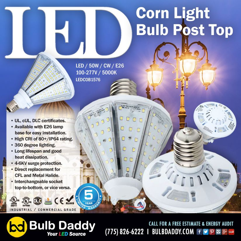 Bulb Daddy S New Led Post Top Cob Is A Perfect Replacement Lamp For Outdoor Pole Arm Mounted Lamps It Incorporates A Patented Removable Lamp Bulb Lamp Bases