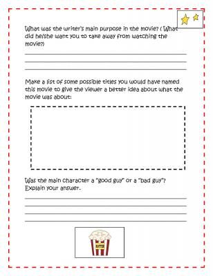 Movie Response Sheets: Use with Any Movie |