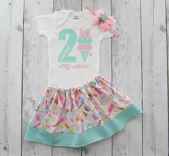 Ice Cream Birthday Outfit Two Sweet One 2nd Birthday Outfit Ice Cream Birthday Dress Ice Cream Leotard Girls 1st Birthday Outfit