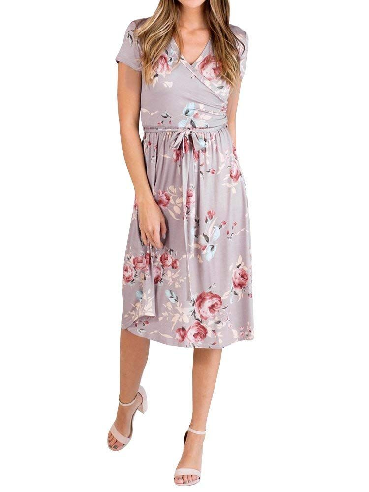 77af964e1ade Gemijack Womens Bridesmaid Dresses Floral Wrap V Neck Short Sleeve Summer Midi  Dress with Belt at Amazon Women s Clothing store