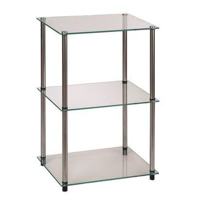 3 Tier Glass Square End Table Johar Furniture Glass End Tables End Tables Convenience Concepts