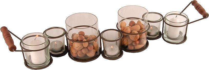 Artikeldetails:  Dekoratives Tablett, Mit 7 Gläsern, Maße (B/T/H): 60/9/11 cm,  Material/Qualität:  Aus Metall und Glas,  ...