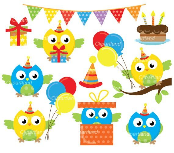 Owl Boy Birthday Owls Party Clip Art Cob 5 Personal And Commercial Use