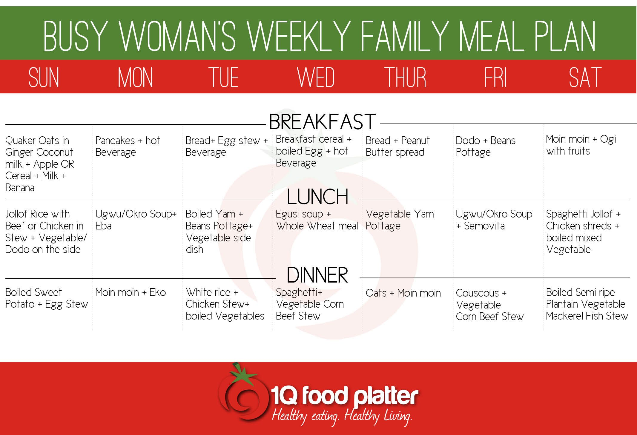 busy womans family meal plan Free