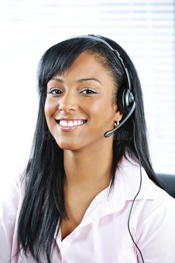 Customer Service Representative With Headset  Smiling Black Customer Service And    Affiliate