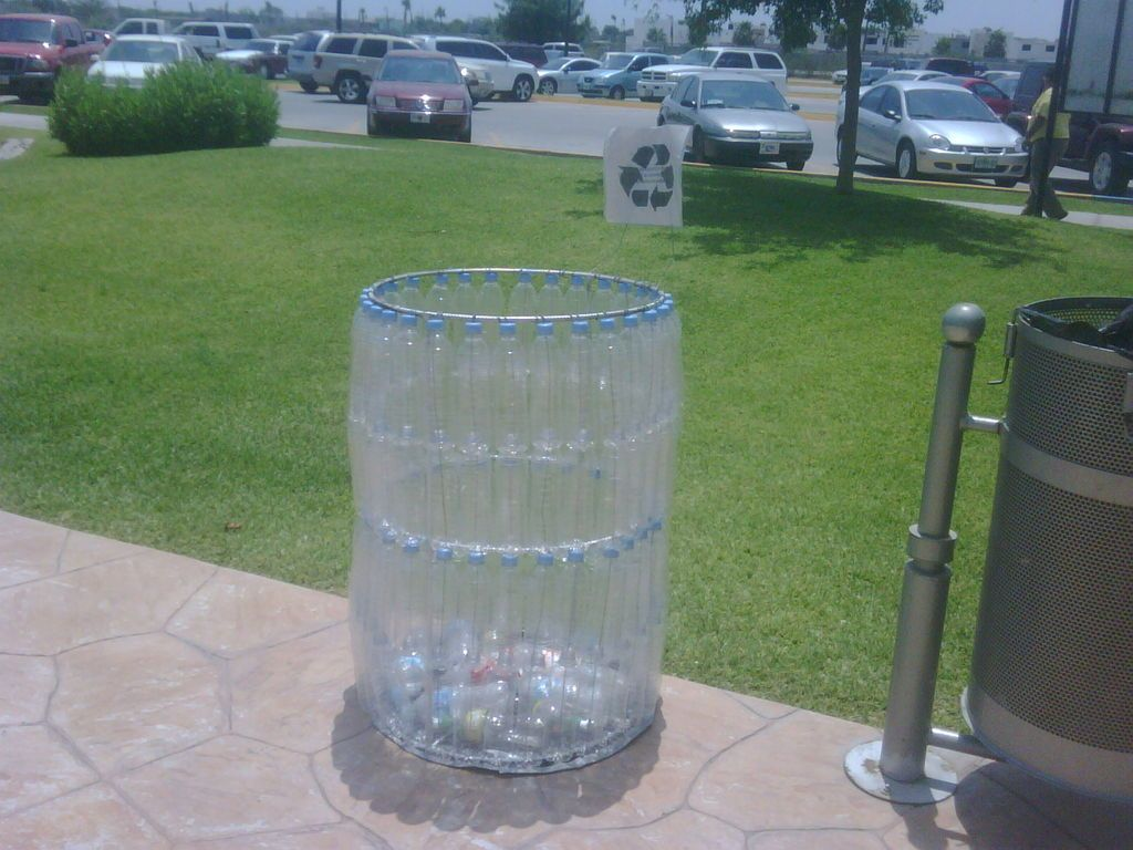 Trash can made of plastic bottles water bottles bottle for Recycled plastic containers