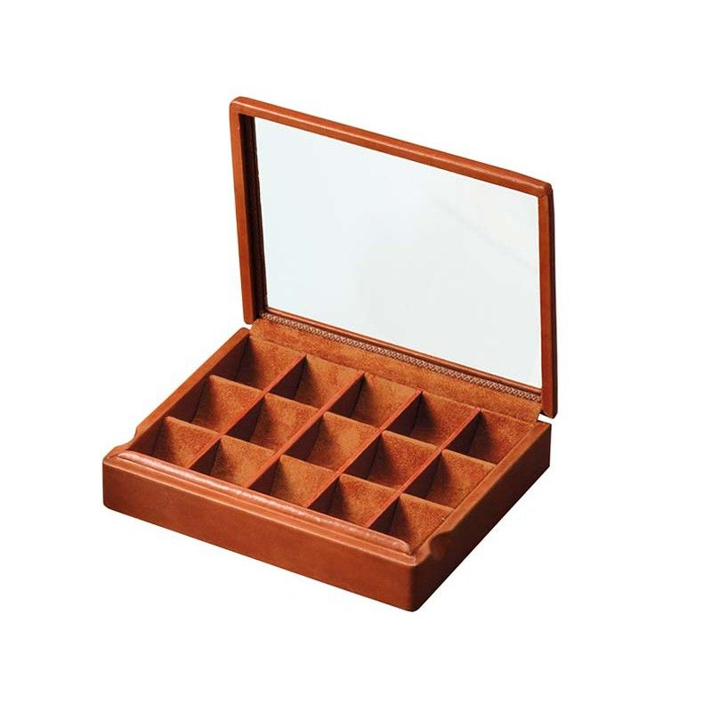 Cufflinks box glass lid | Box 8 pairs of cufflinks | Handmade by @AbsoluteBreton #leather #accessories #jewelry #jewellery #cases #gifts #men #giftsforhim #luxury #leatheraccessories #artisan #jewels #cufflinks