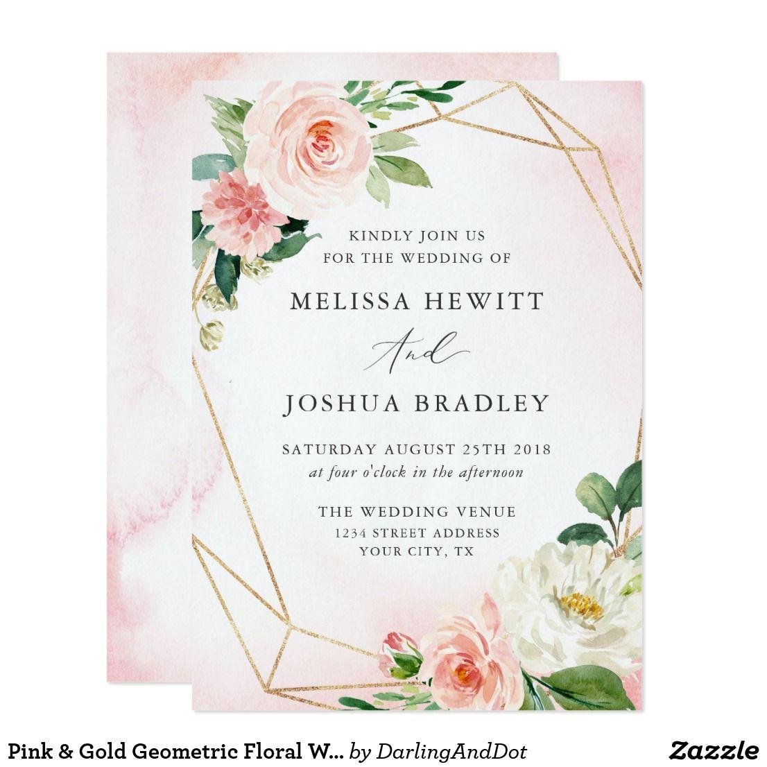Pink Gold Geometric Floral Wedding Invitation Zazzle Ca Floral Wedding Invitations Geometric Wedding Invitation Pink And Gold Wedding
