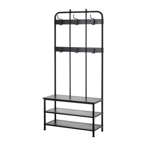PINNIG Coat rack with shoe storage bench, black Shoe storage - Küchen Kaufen Ikea