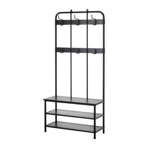 PINNIG Coat rack with shoe storage bench, black | Shoe storage ...