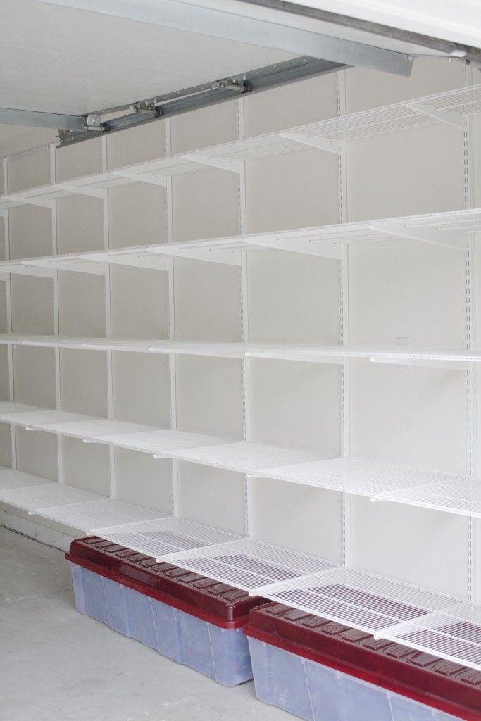Simply Done Custom Wall Of Garage Shelving Simply Organized Garage Shelving Garage Tile Shelving