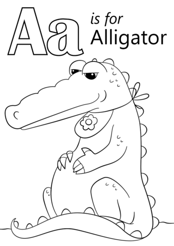 Letter A is for Alligator coloring page from Letter A category ...