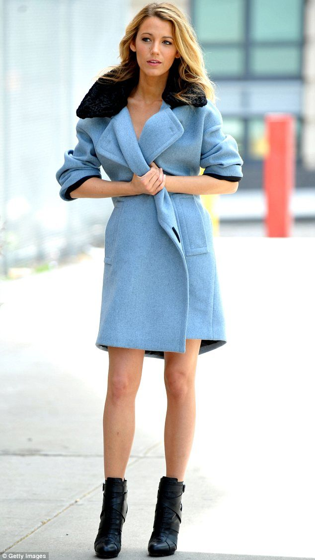 Blake Lively - Blue coat with black collar, love <3