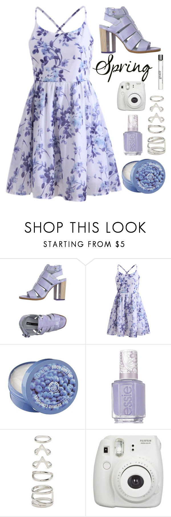 """Spring dress"" by leagelia ❤ liked on Polyvore featuring Miista, The Body Shop, Essie, Forever 21 and philosophy"