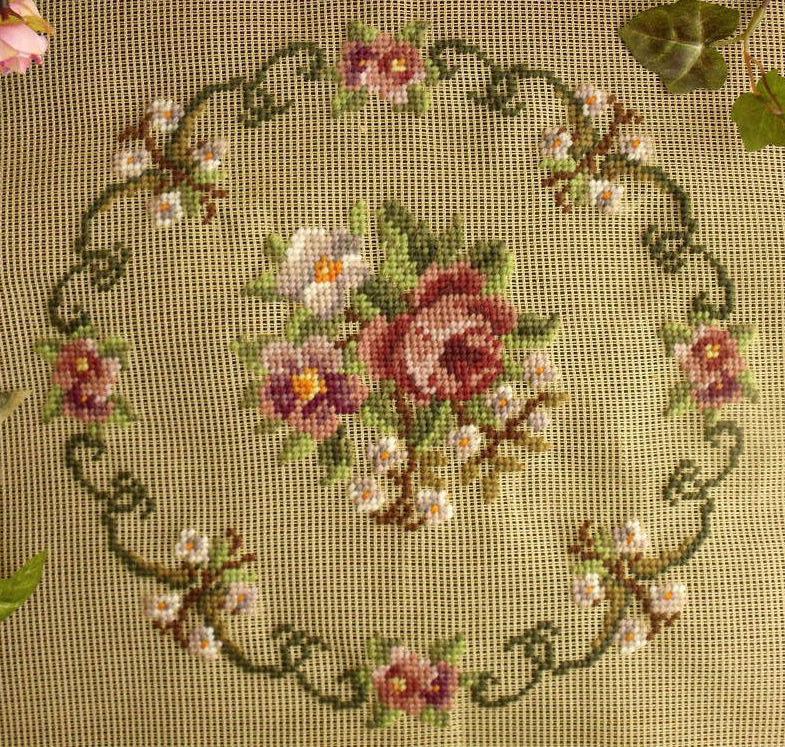 Needlepoint Roses w Round Scrollwork...