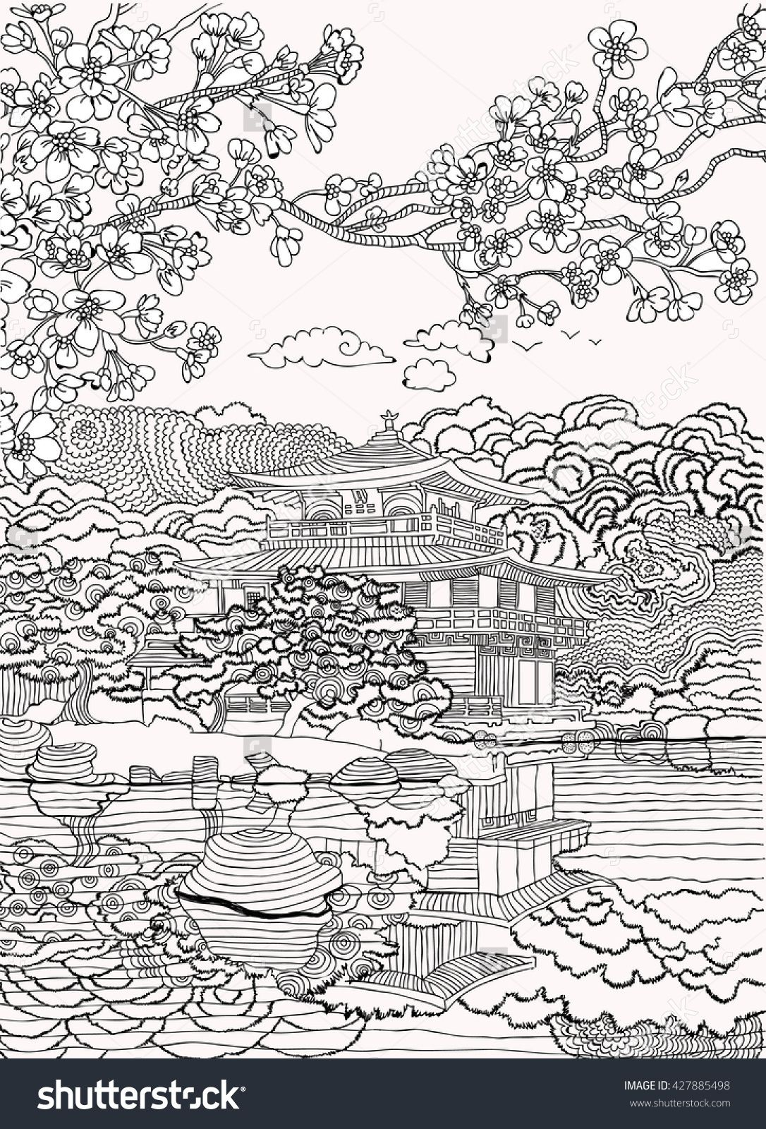 Japan coloring pages Shutterstock : 427885498 | Adult Coloring Pages ...