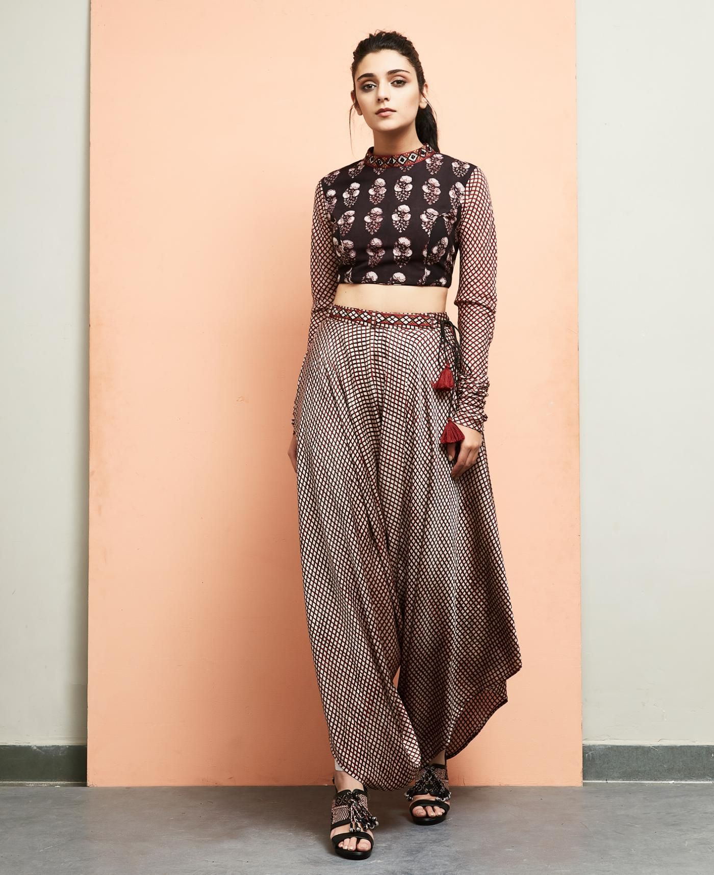 1789745b66a58 Bagru Printed Crop Top with Dhoti Pants
