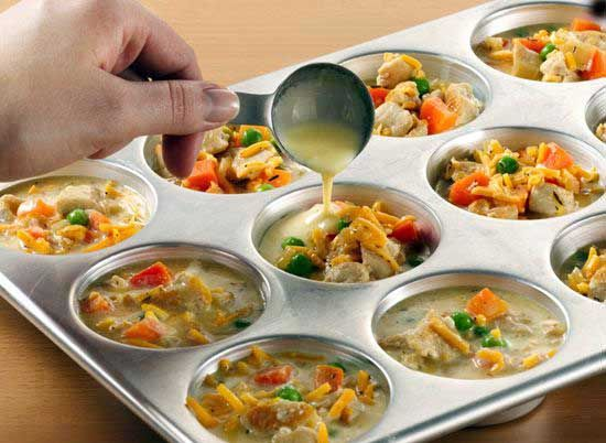 Mini chicken pot pies made w  Bisquick. I can see why everyone keeps pinning this!