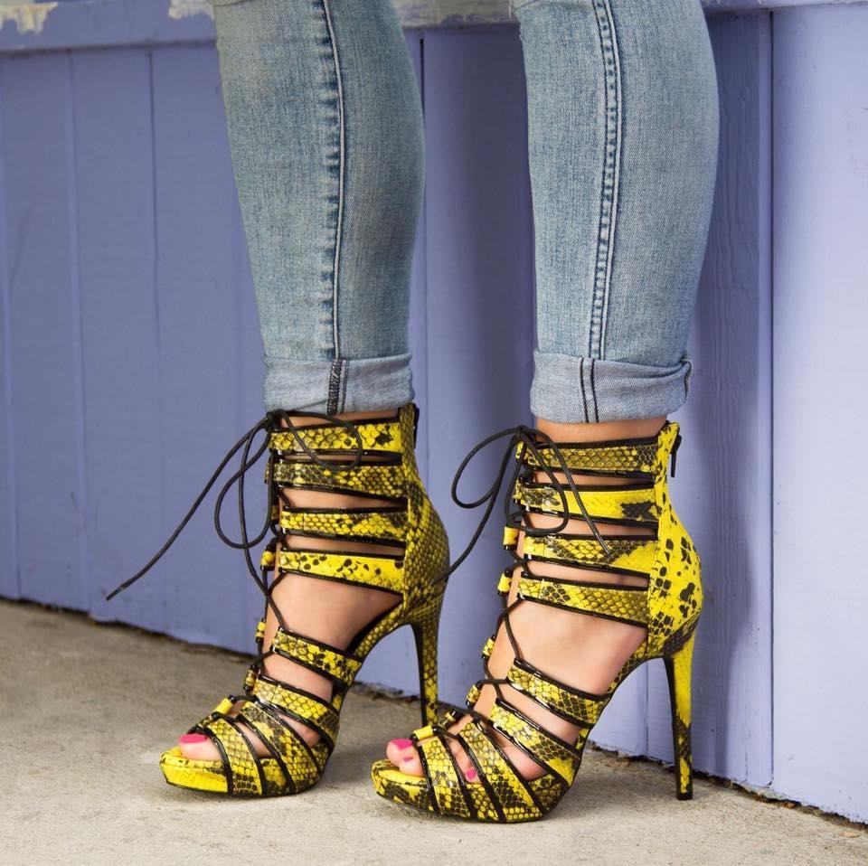 Shoespie Snakleskin Lace-up Cut-out  Dress Sandals