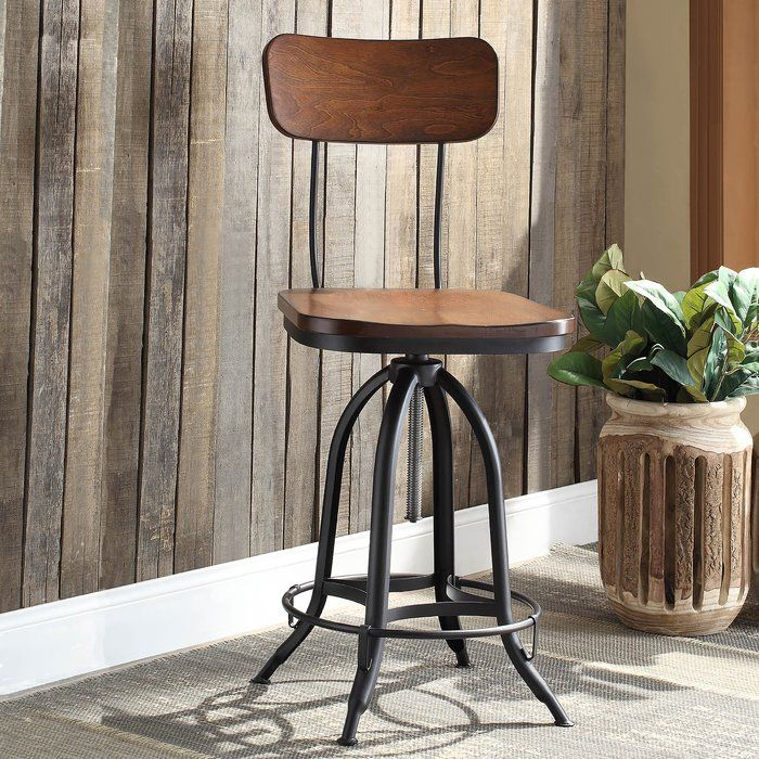 Fennimore Adjustable Height Swivel Bar Stool In 2019
