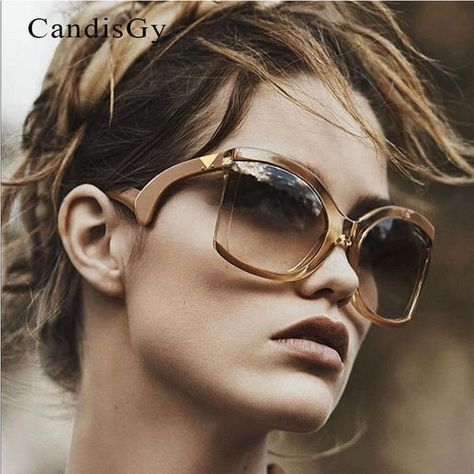2733910d4e8  FASHION  NEW 2018 Black Clear Oversized Cateye Sunglasses Women Gradient  Summer Style Classic Woman Sun Glasses Big Frame