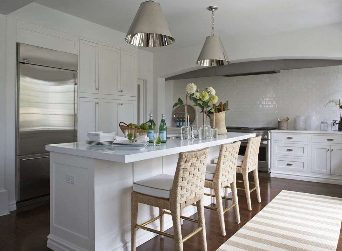 Küchenideen ohne insel kensett norwood  lynn morgan design  soft colors  seats  lamps