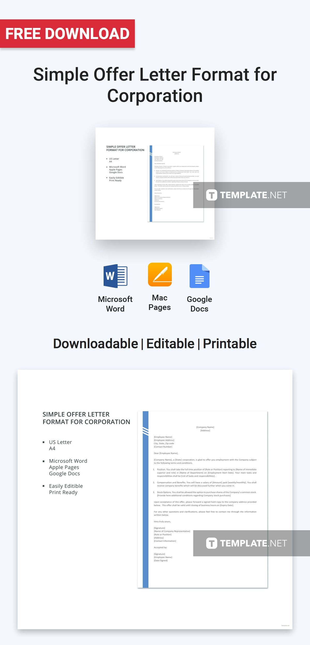 free simple offer letter format for corporation letter templates