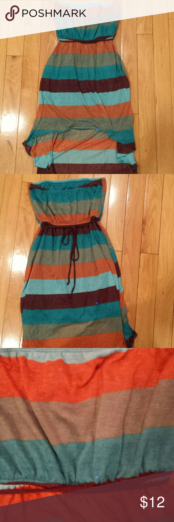 LOVE J Halter High Lo Summer Dress Size Medium Cotton and spandex material, super cute halter high low summer dress. Has a belt at waist that ties in the back. Very pretty colors turquoise and orange. No rips tears or stains. Smoke free and pet free home. I take offers and give bundle discounts. love j Dresses High Low