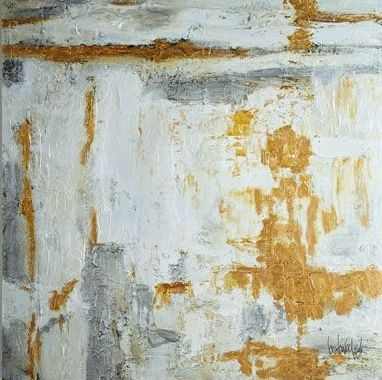 John-Richard Collection - Large White & Gold Abstract