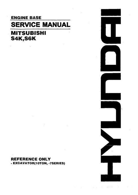 Hyundai S4K, S6K Mitsubishi Engine Base Service Manual