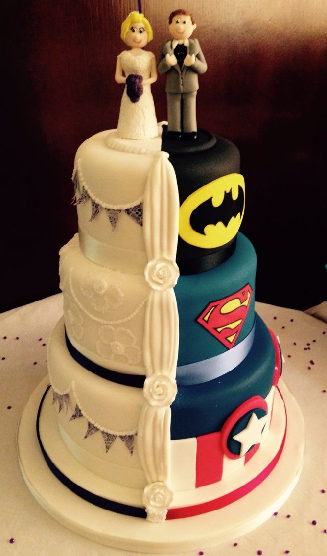 Half and half super hero wedding cake! :-) | Wedding cakes in 2018 ...