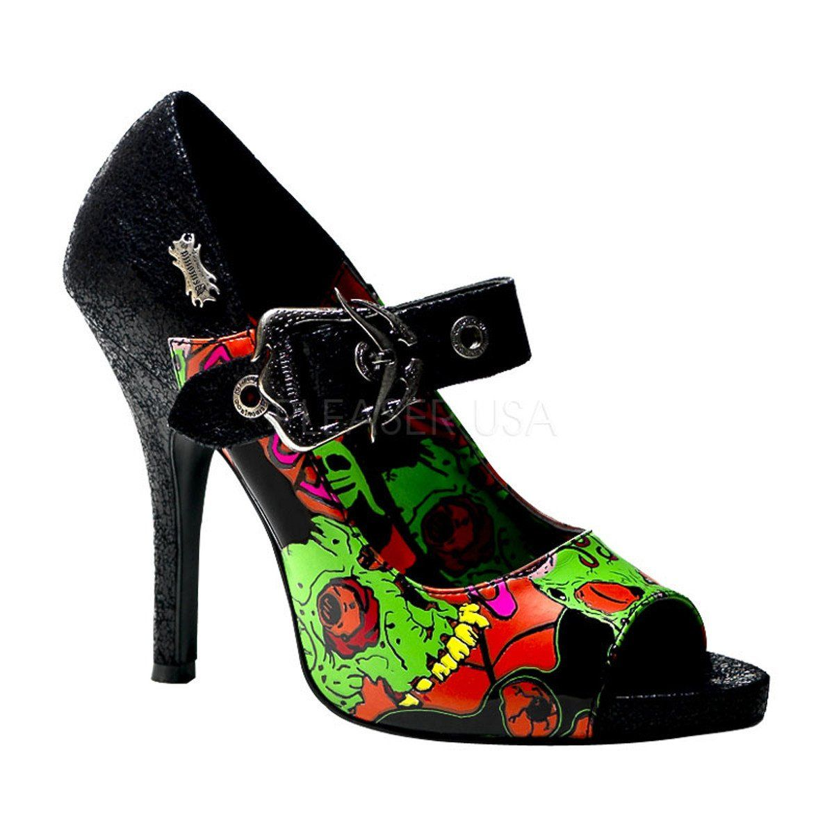 Demonia ZOMBIE 07 Black Turtle Pu Women's Heels