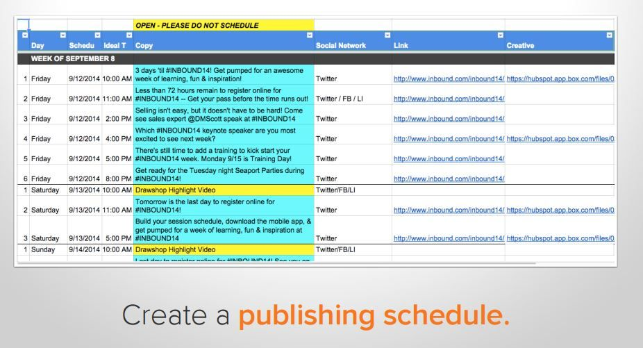 Social Media Publishing Schedule Template  Inbound Marketing