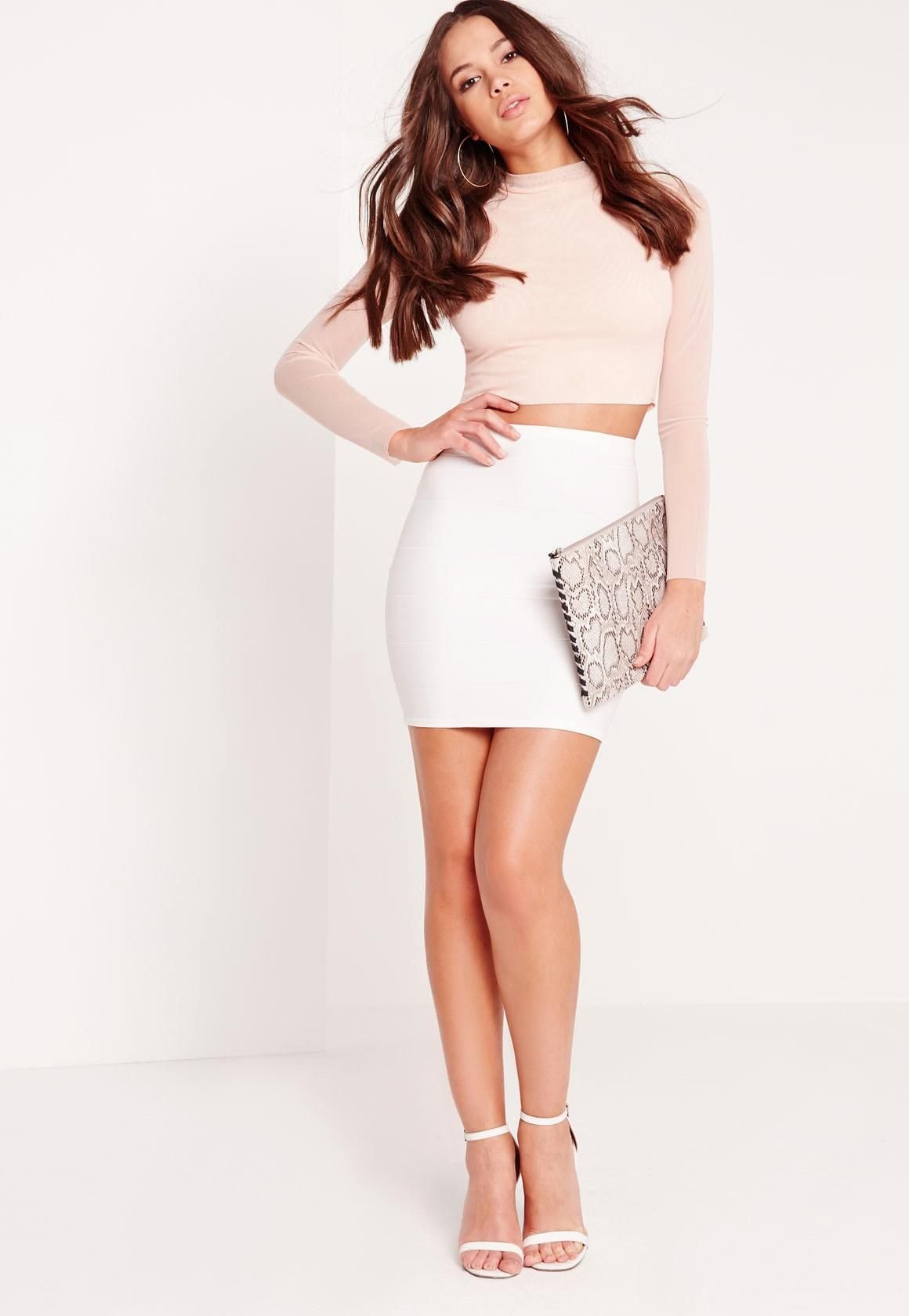 37cdf2a967 Missguided - Bodycon Bandage Mini Skirt White | outfits | Mini ...