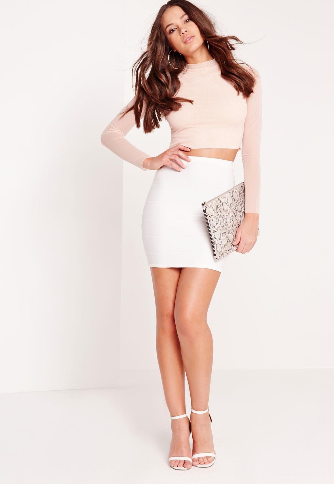 cb0cc1dfe Missguided - Bodycon Bandage Mini Skirt White | outfits | Mini ...