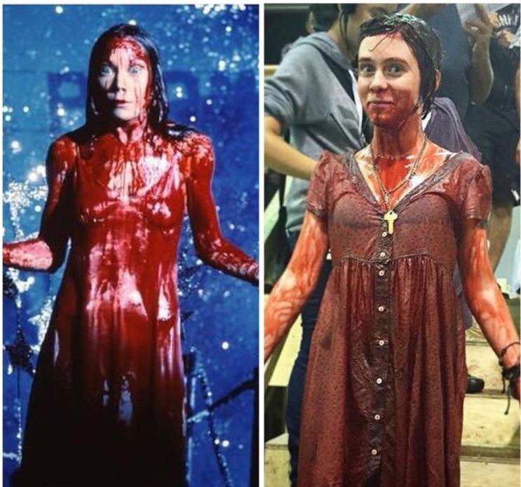 Carrie white 1976 and beverly marsh 1989 side by side the