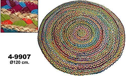 donregaloweb - alfombra redonda de algodón y yute con múltiples