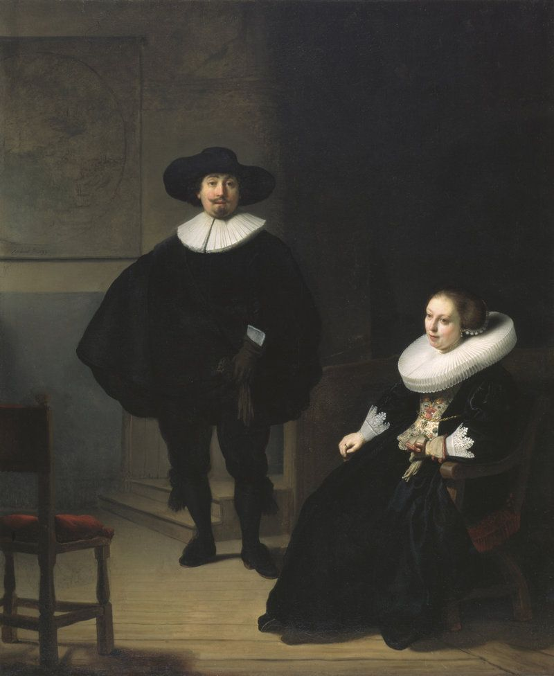 Rembrandt, A Lady and Gentleman in Black, 1633. Oil on canvas, 131.6 x 109 cm. Inscribed at the foot: Rembrandt.ft: 1633. This monumental work hung in a prominent spot in the Dutch Room, visible through its windows overlooking the court. Rembrandt completed this work in his second year in Amsterdam in 1632. It was stolen in 1990 and has never been recovered.