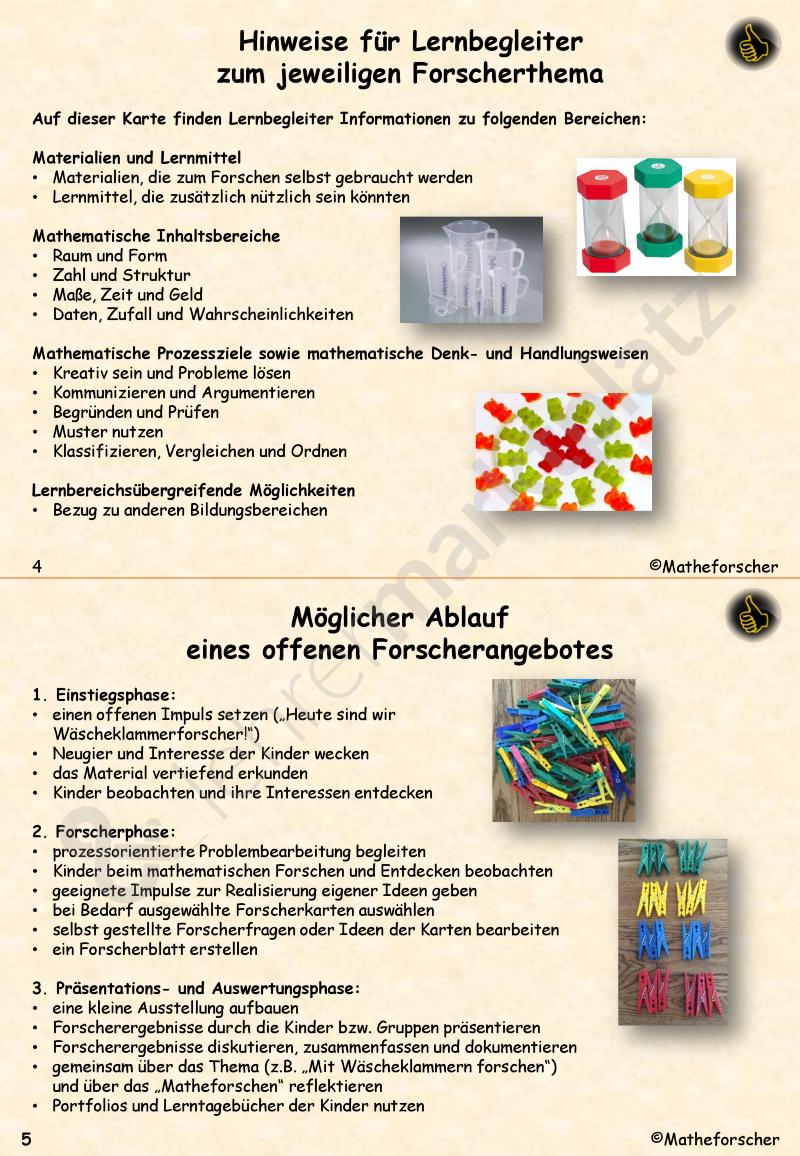 Forscherkarten für kleine Matheforscher in der Kita (Handreichung ...