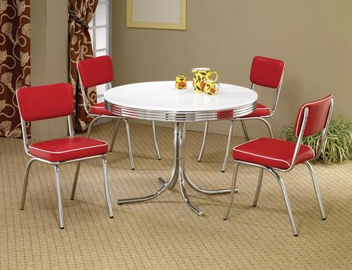 50 S Style Round Chrome Retro Dining Table W Four Red Chairs