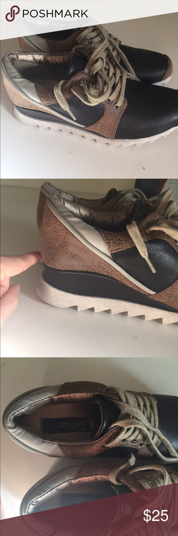 """NWT sneaker with hidden heel Black and and brown leather look shoes with a hidden heel (provides ~3/4"""" lift over the sole of the shoes). Very comfortable around the ankle too. DBDK Fashion brand. Shoes Sneakers"""