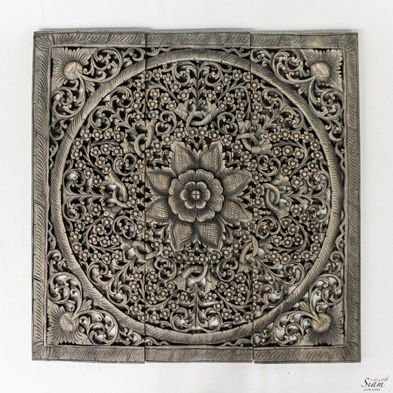 Large Wood Carved Wall Art Panel Balinese Floral Wood Wall