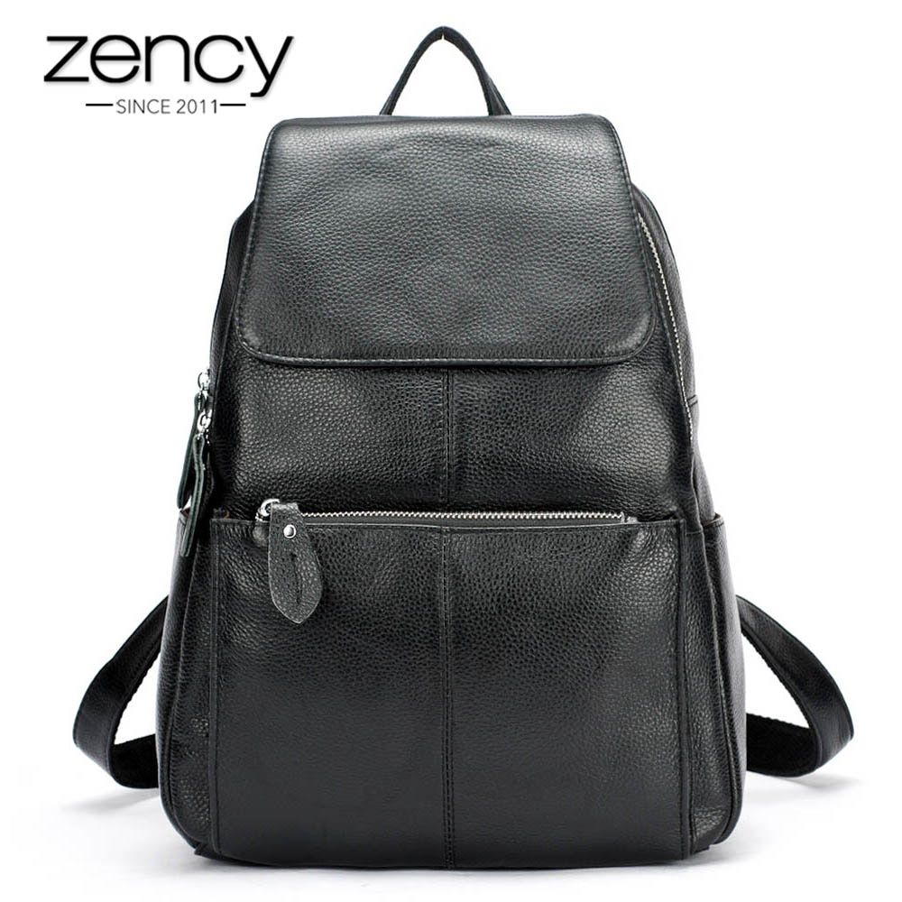 Zency Fashion Color 100% Genuine Leather Casual Women s Backpacks Casual Travel  Knapsack Laptop Bag Ladies Pocket Girl Schoolbag a7763a5586