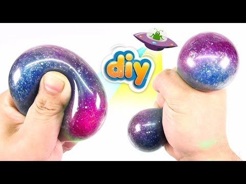 DIY GALAXY SQUISHY STRESS BALL & Glitter Galaxy SlimeBall ! Make ...