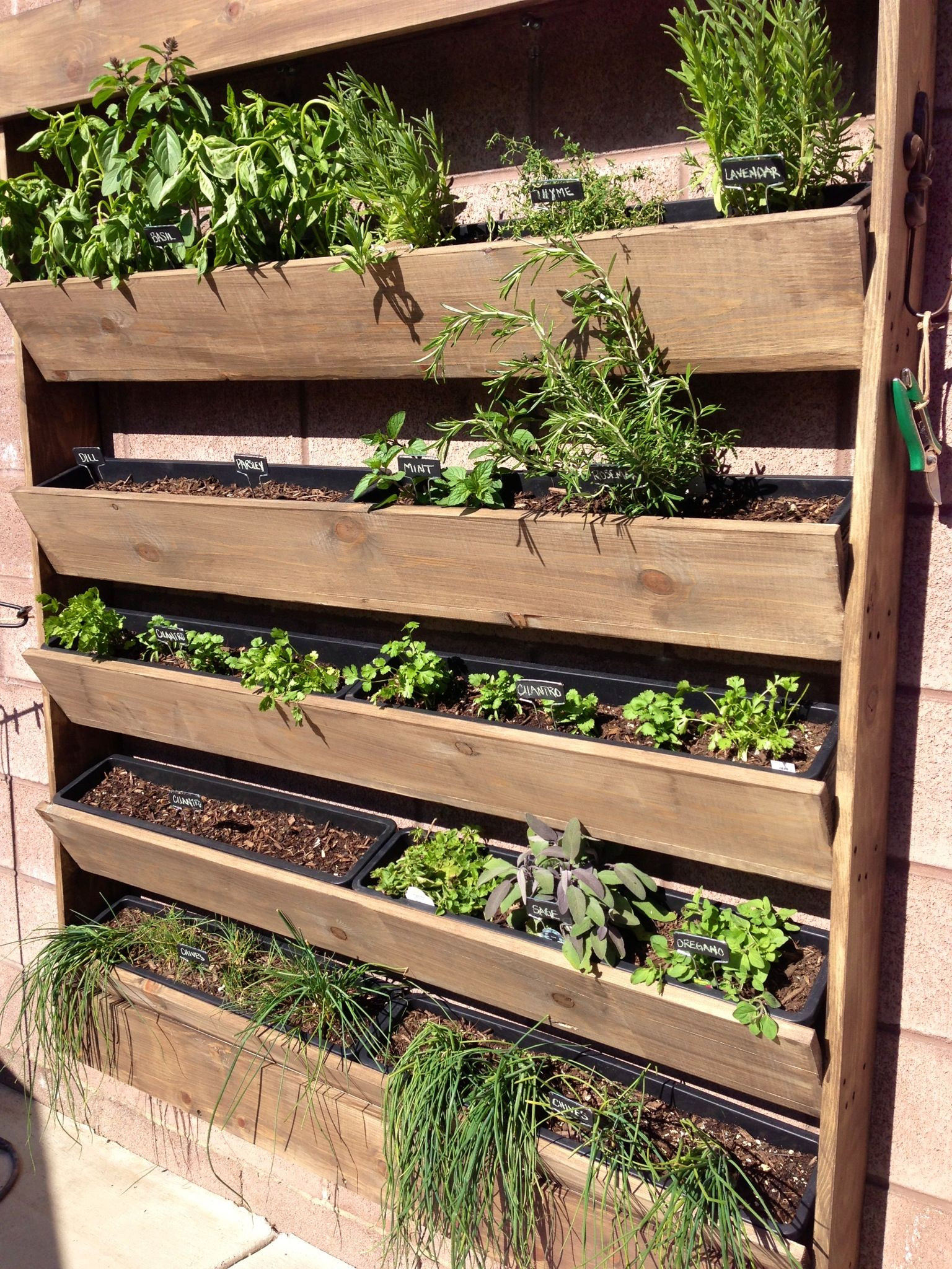 Herb Wall Planter Garden Easiest Version Build Shelves For The Plastic Planters