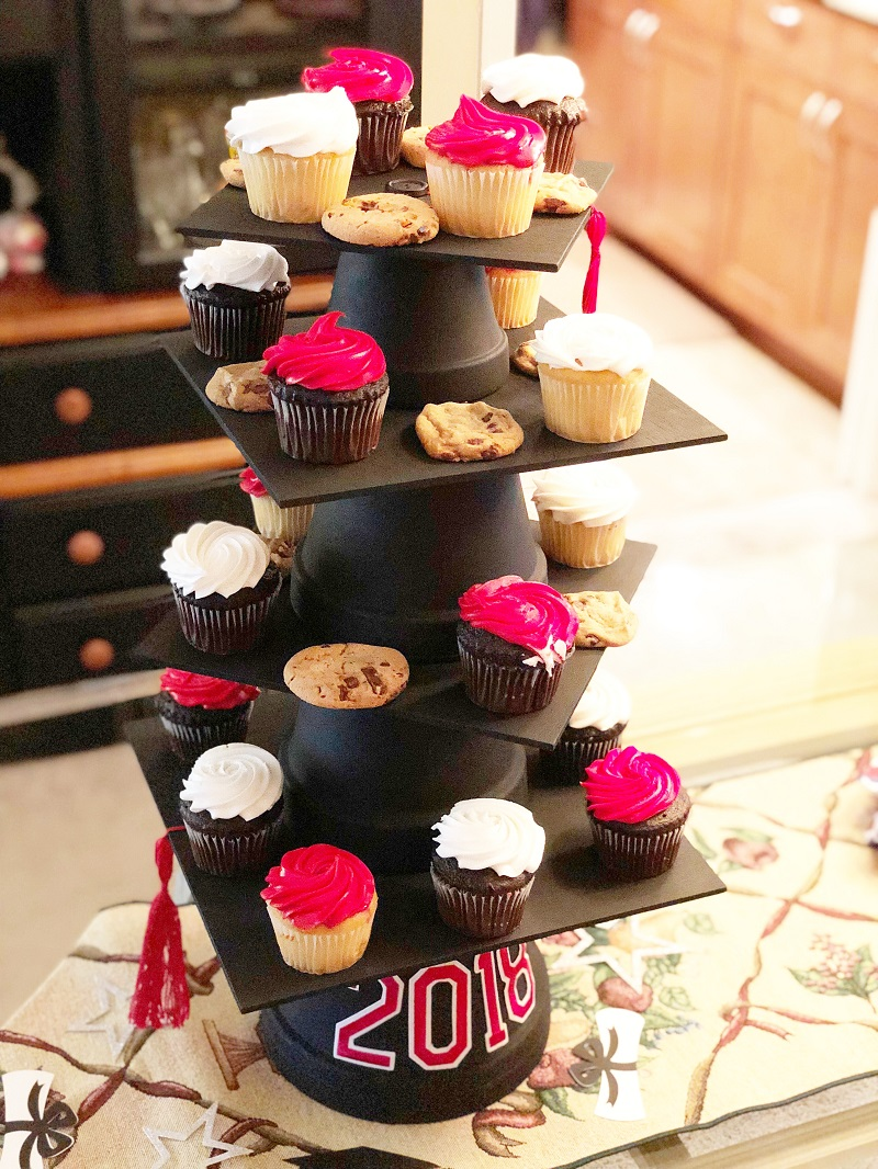Create A Diy Graduation Cap Cupcake Stand And Cake Plate Graduation Diy Cupcake Stand Diy Graduation Cap