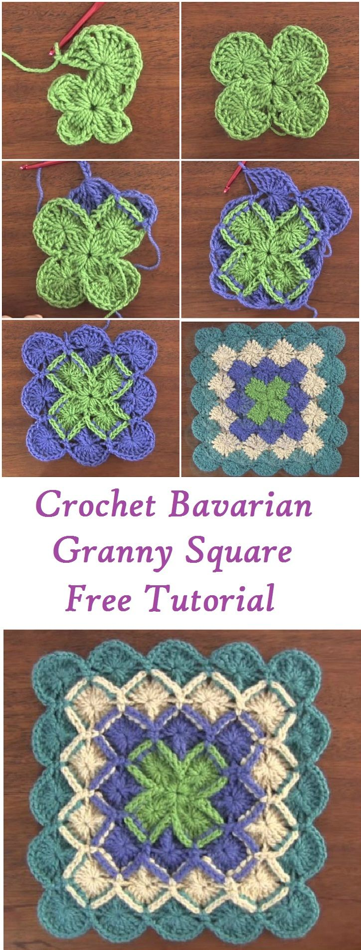 Crochet Bavarian Granny Square Free Tutorial | Quadrati | Pinterest ...