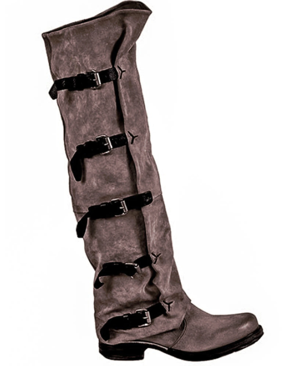 A.S.98 SHAYLYNN TATUM TABACCO BUCKLED OVER THE KNEE FASHION LEATHER BOOTS