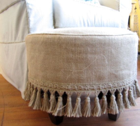 Burlap Slipcovered Stool Ottoman Tuffet Bench Seating Furniture In